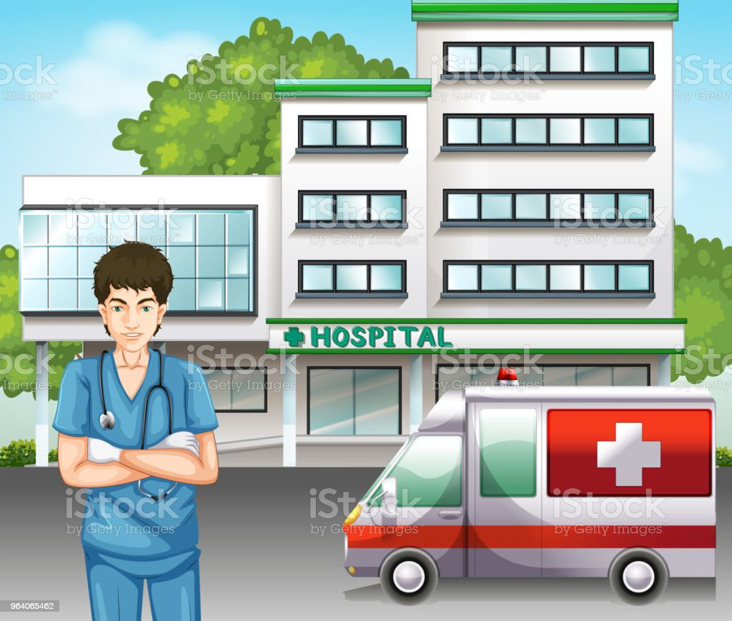A Doctor at Hospital Scene - Royalty-free Accidents and Disasters stock vector