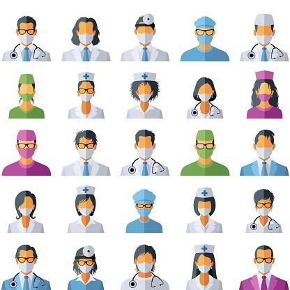 Doctor Avatar Icons. Coronavirus medical concept.