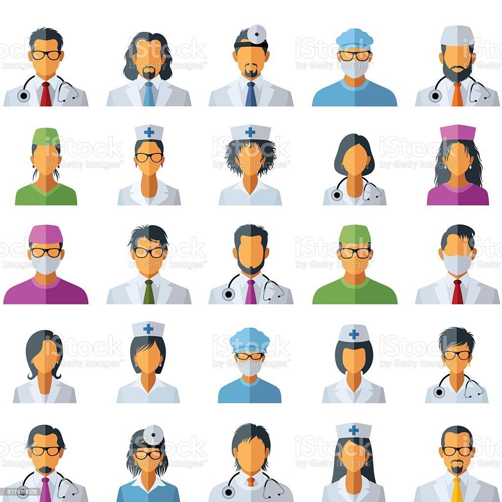 Doctor Avatar Icons vector art illustration
