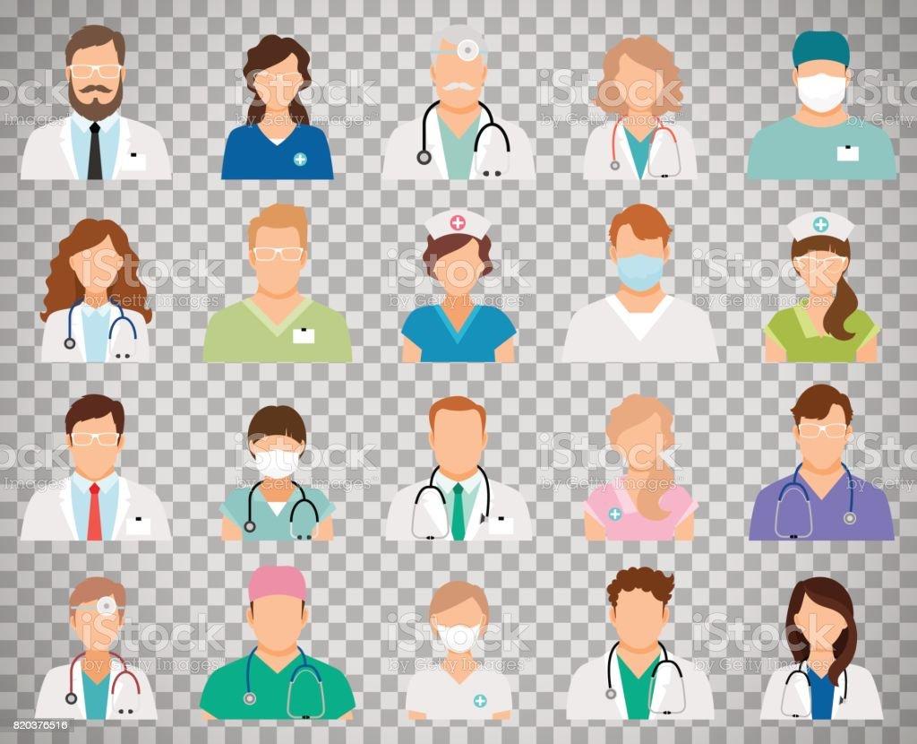 Avatars de médecin sur fond transparent - Illustration vectorielle