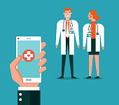 Mobile Medicine App With Hand Holding Smart Phone Over Doctor