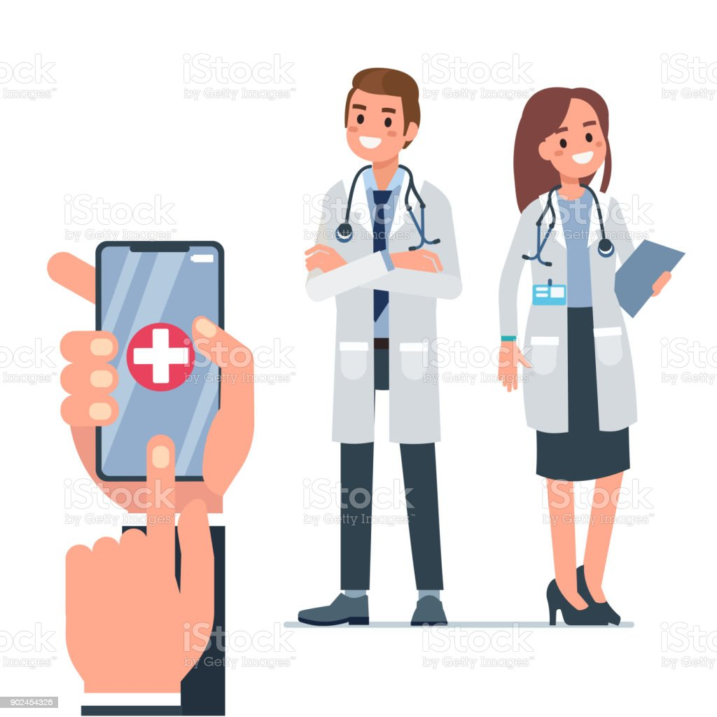 doctor call vector art illustration