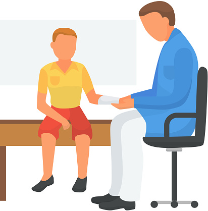 Doctor care about child health, applied bandage, vector illustration. Medical treatment for broken hand, cartoon patient injury.