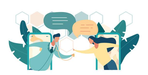 ilustraciones, imágenes clip art, dibujos animados e iconos de stock de médico realiza el examen con el paciente - telehealth