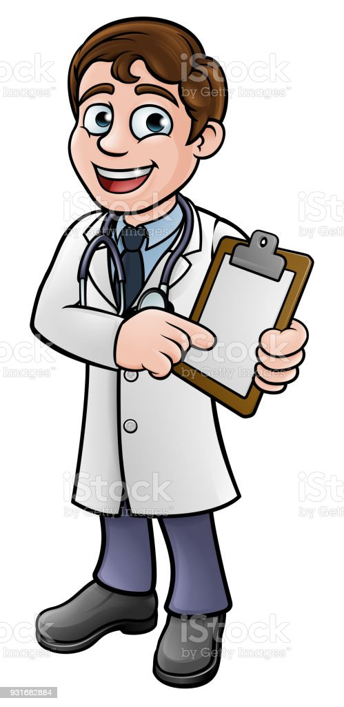 Doctor Cartoon Character Holding Clip Board vector art illustration