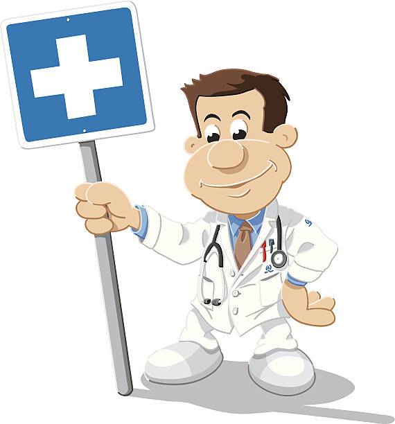 Doctor Cartoon Man Emergency Sign Isolated Vector Illustration of a cartoon doctor, who is holding a blue sign with a white cross. The illustration is on a transparent background (.eps-file). The colors in the .eps-file are ready for print (CMYK). Included files: EPS (v8) and Hi-Res JPG. cartoon people sign stock illustrations
