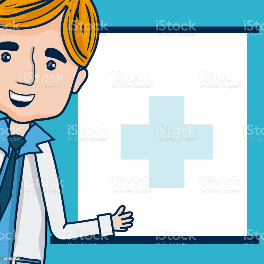 Doctor Cartoon With Blank Frame Stock Vector Art & More Images of ...