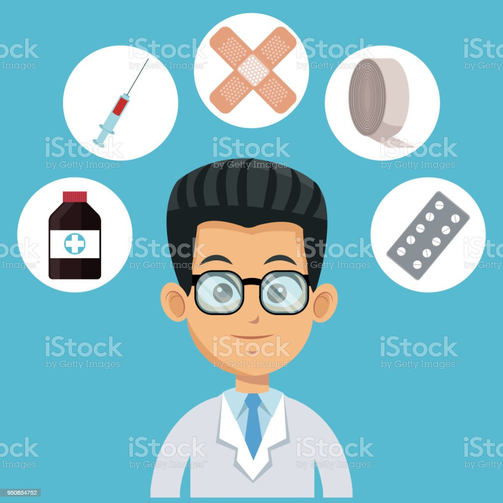 Doctor Cartoon With Medical Symbols Stock Vector Art More Images