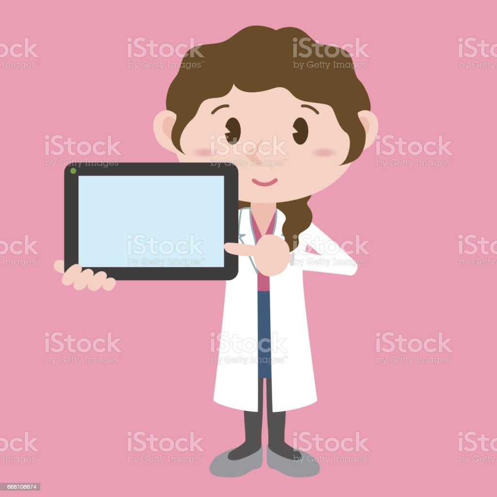 タブレット pc 画面でベクトル クリップ アート イラスト白いコートを着