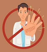 Doctor character showing stop hand sign. Vector flat cartoon illustration