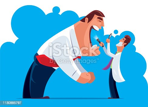 vector illustration of doctor checking businessman mouth