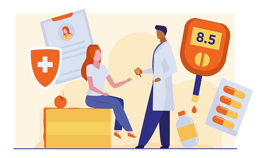 Doctor checking woman blood sugar level