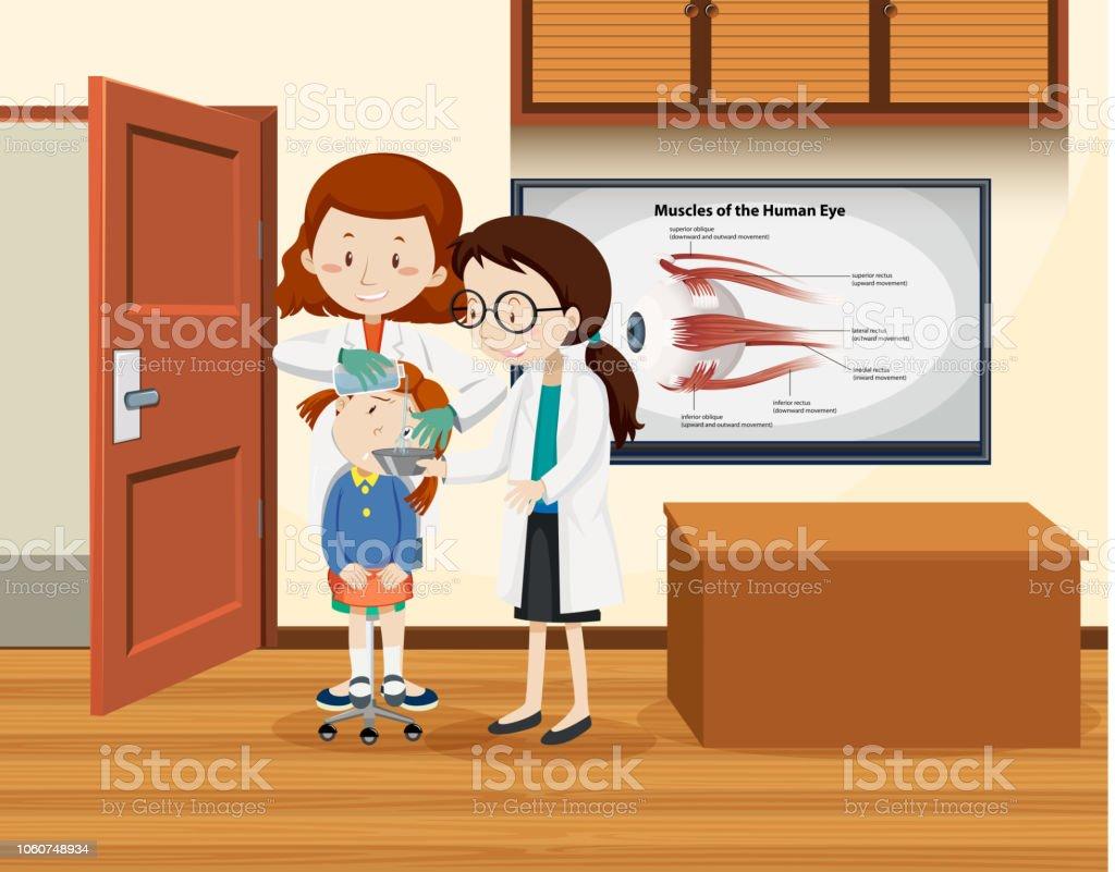 Arzt Reinigung Mädchen Auge – Vektorgrafik