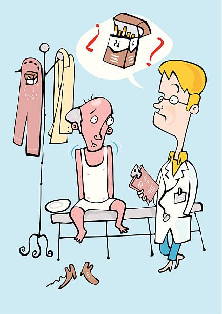 Medico preocupado por la adiccion al tabaco de su paciente Medico preocupado por la adiccion al tabaco de su paciente medico stock illustrations