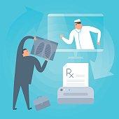 Doctor consults online by computer, prints prescription. Telemedicine, telehealth concept.