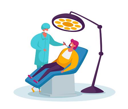 Doctor Dentist Conducting Health Medical Check Up Treatment Looking at Patient Oral Cavity. Woman in Medical Chair