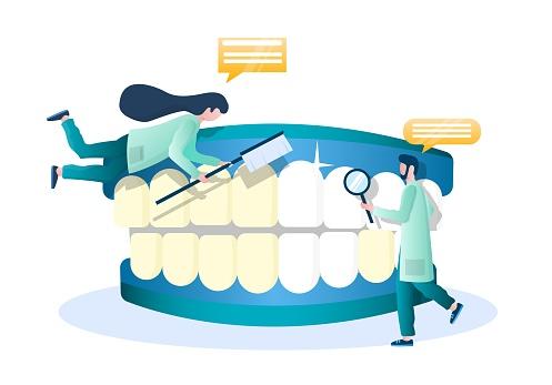 Doctor dentist whitening human teeth, vector illustration. Dentistry, oral health, hygiene, professional teeth bleaching