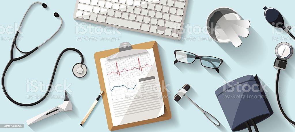 doctor desk flat illustration vector art illustration