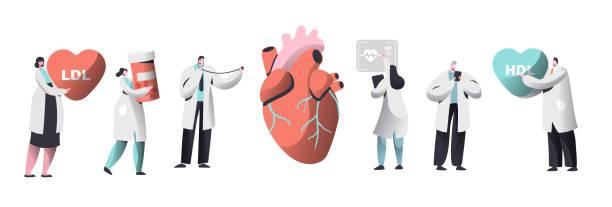 ilustrações, clipart, desenhos animados e ícones de médico diagnosticar coração para conjunto de presença de colesterol. laboratório químico dados coleção de caráter de ciência. mulher espera farmácia medicamento recipiente. ilustração em vetor ldl hdl coração cartoon plana - colesterol