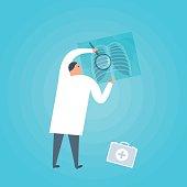 Doctor examines an x-ray image. Medicine, Healthcare vector concept illustration.