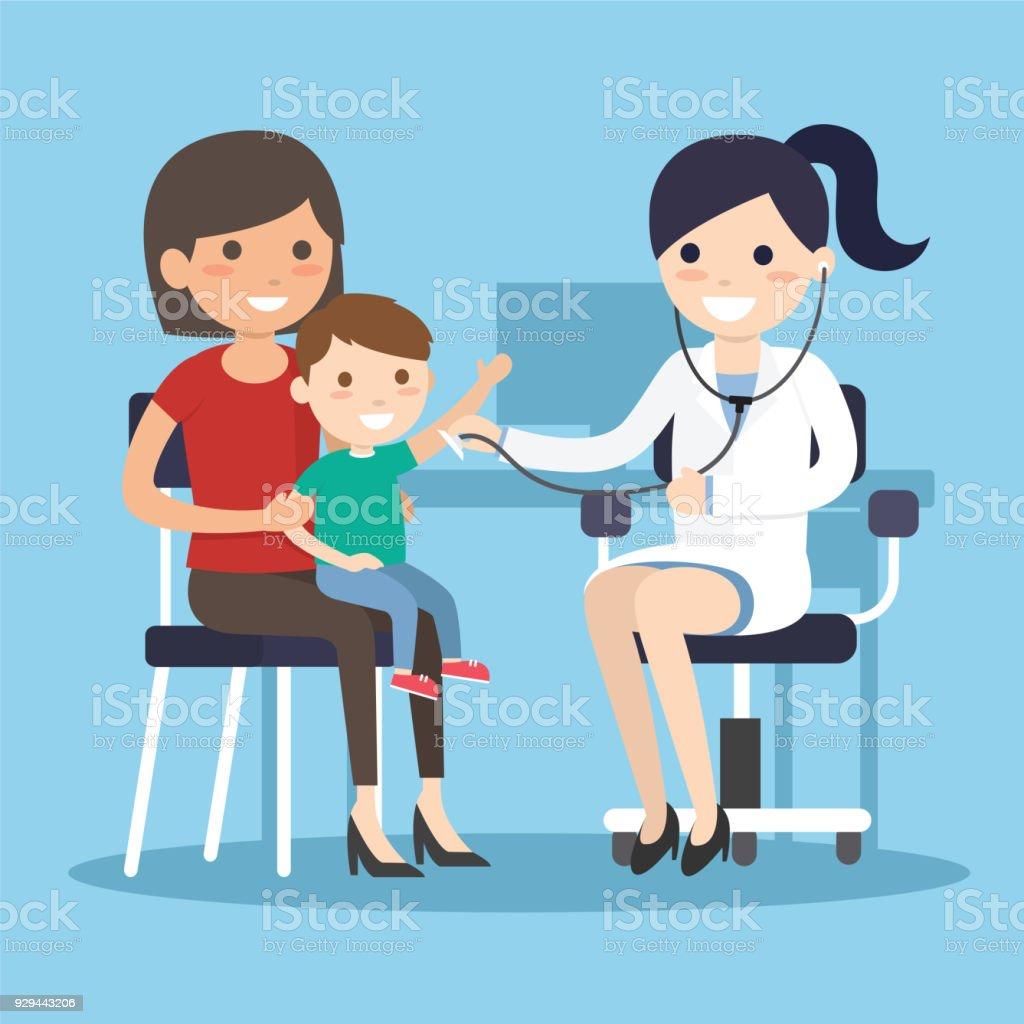 Doctor Examining listens to breathing vector art illustration