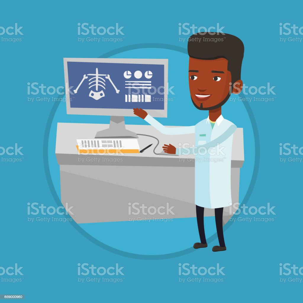 Doctor examining radiograph vector illustration royalty-free doctor examining radiograph vector illustration stock vector art & more images of biomedical illustration
