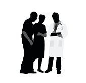 A vector silhouette illustration of a young doctor discussing medical results with an elderly couple.
