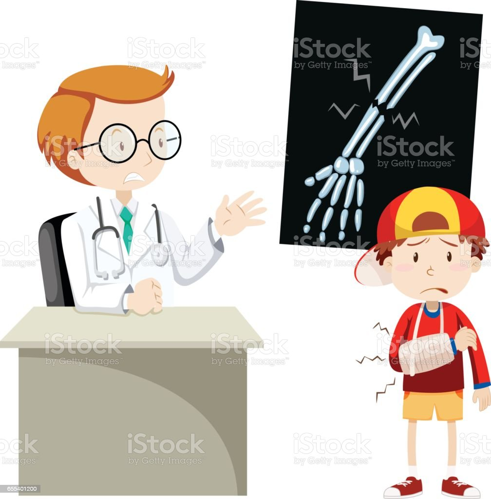 Doctor explaining x-ray film to boy vector art illustration