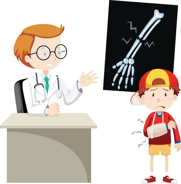 Doctor explaining x-ray film to boy vector art illustration