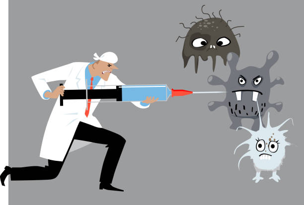 doctor fighting diseases - flu shot stock illustrations