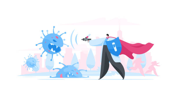 Doctor fighting virus with medicine on street Vector illustration of modern superhero doctor with shield and cape shooting aggressive coronavirus with drug while standing on city street aggression stock illustrations