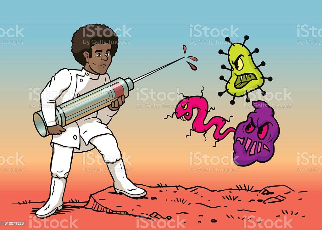 Doctor Fighting with Syringe Against Virus vector art illustration