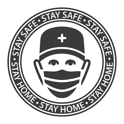 Doctor flat black and white badge (icon design in circle). Isolated simple vector with physician in medical face mask