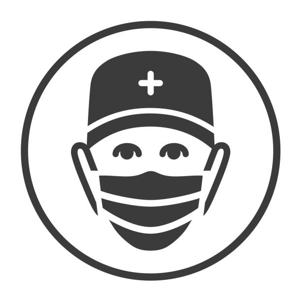 Doctor flat black icon. Isolated vector simple illustration with physician in medical face mask Outline sign in circle medico stock illustrations