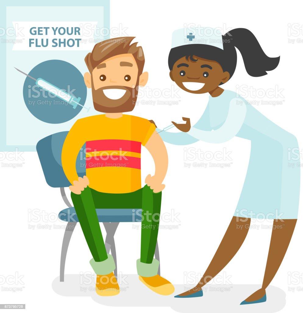 Médecin donnant un vaccin contre la grippe gratuit à un patient - clipart vectoriel de Vaccin libre de droits