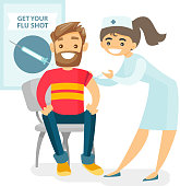 Doctor giving a free flu vaccination to a patient