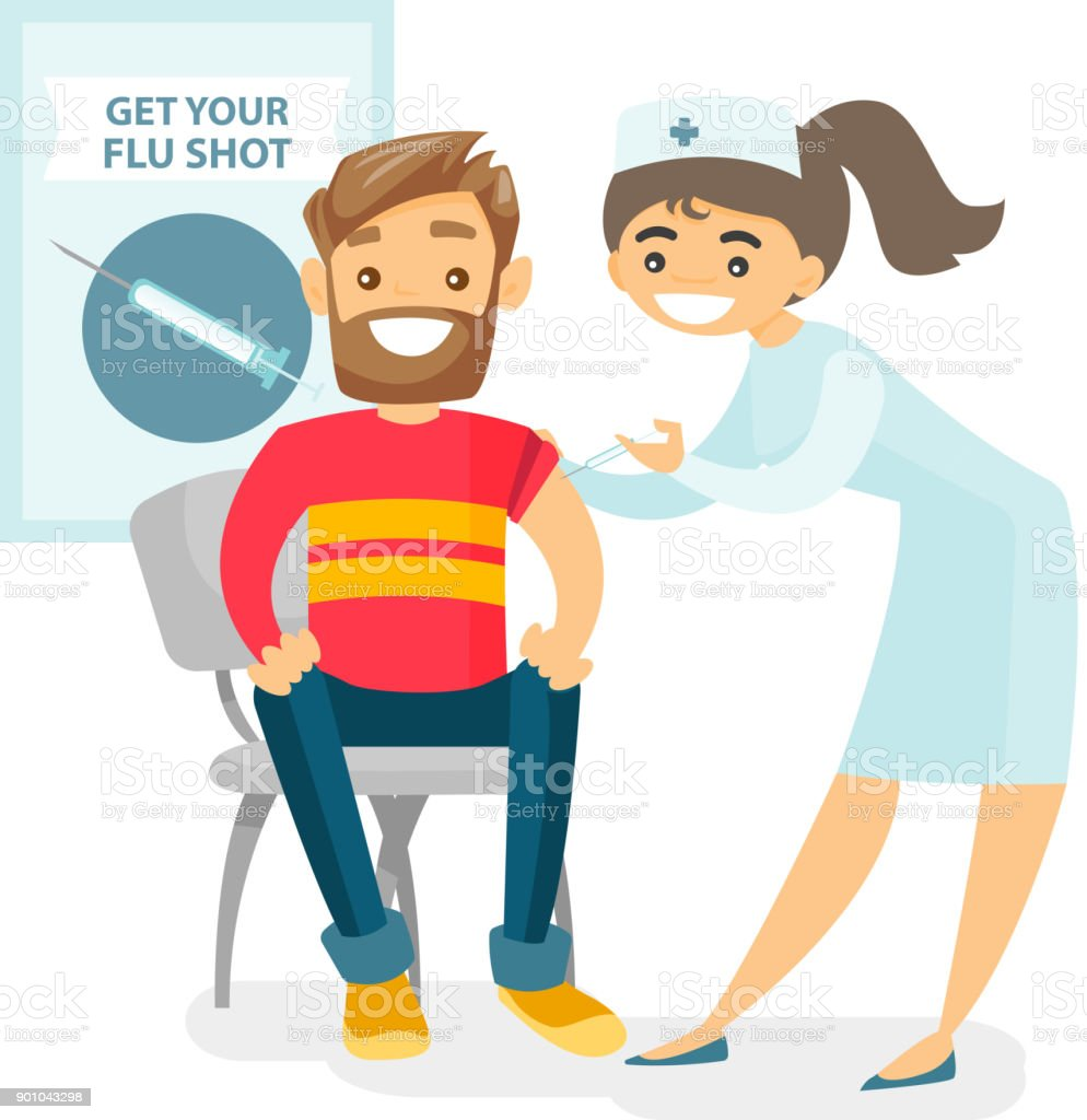 Doctor giving a free flu vaccination to a patient vector art illustration