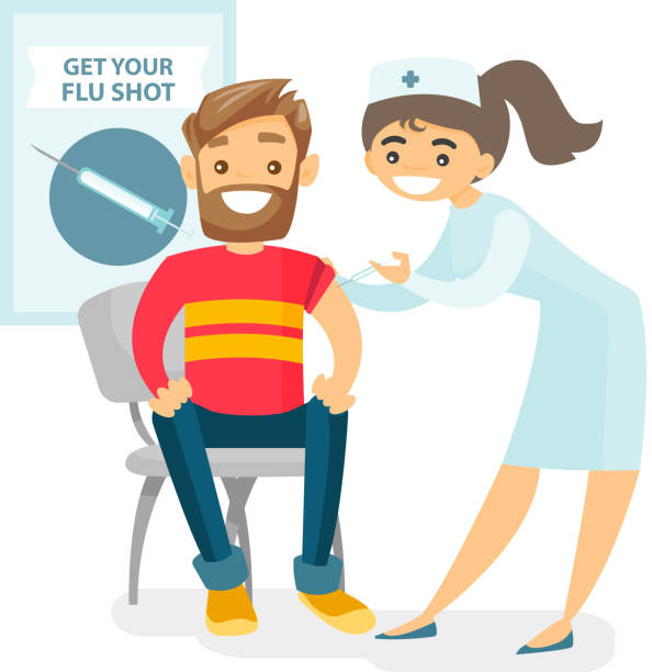 bildbanksillustrationer, clip art samt tecknat material och ikoner med läkare som ger en gratis influensavaccination till en patient - vaccine