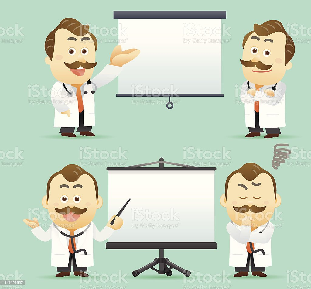 Doctor giving a presentation with projection screen. royalty-free stock vector art