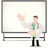 Doctor giving a presentation with projection screen