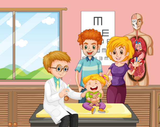 a doctor giving kid vaccine - flu shot stock illustrations