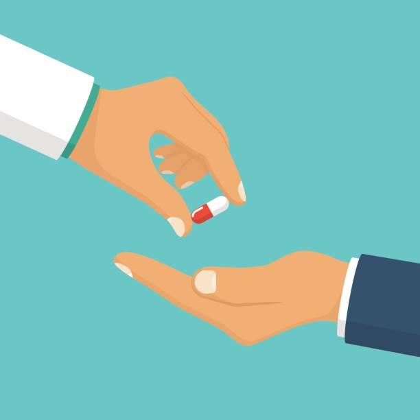 illustrazioni stock, clip art, cartoni animati e icone di tendenza di doctor giving pills patient. - antibiotico