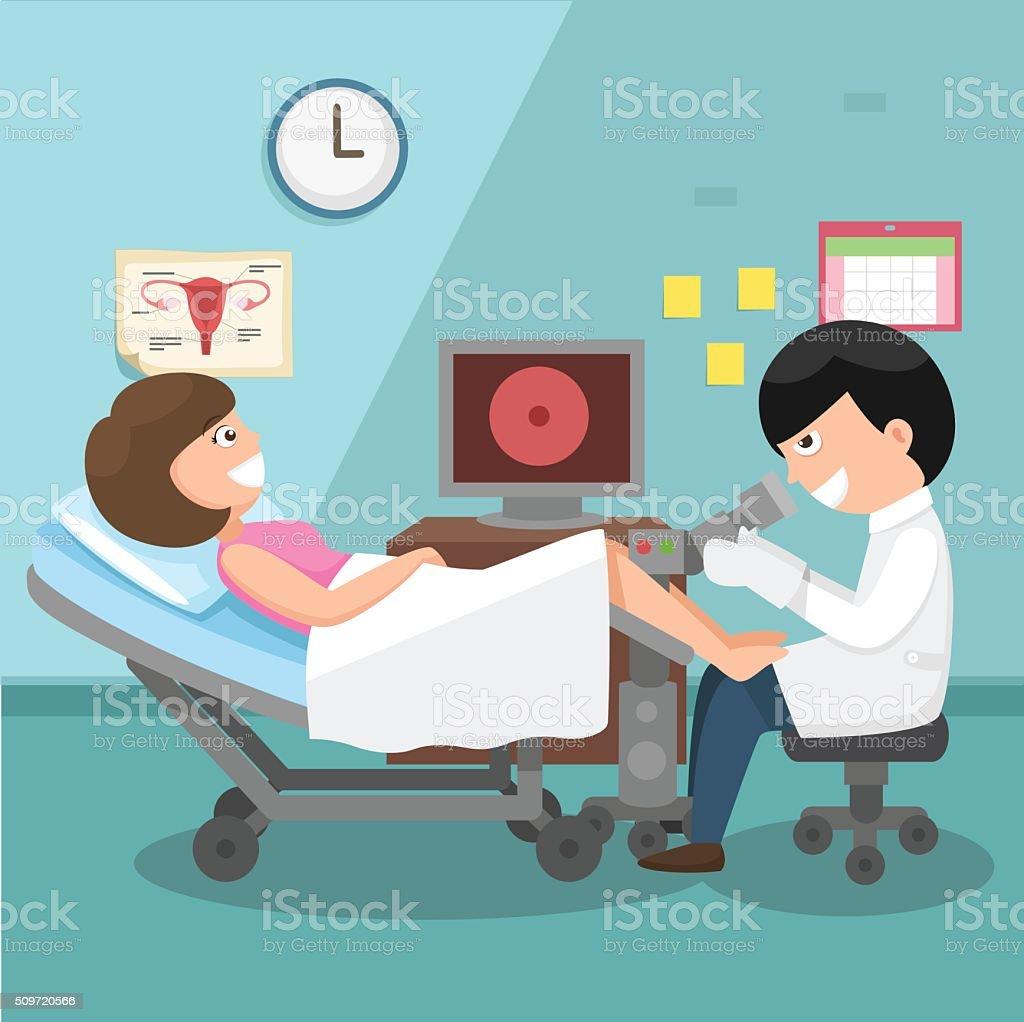 Doctor, gynecologist performing physical examination illustratio vector art illustration