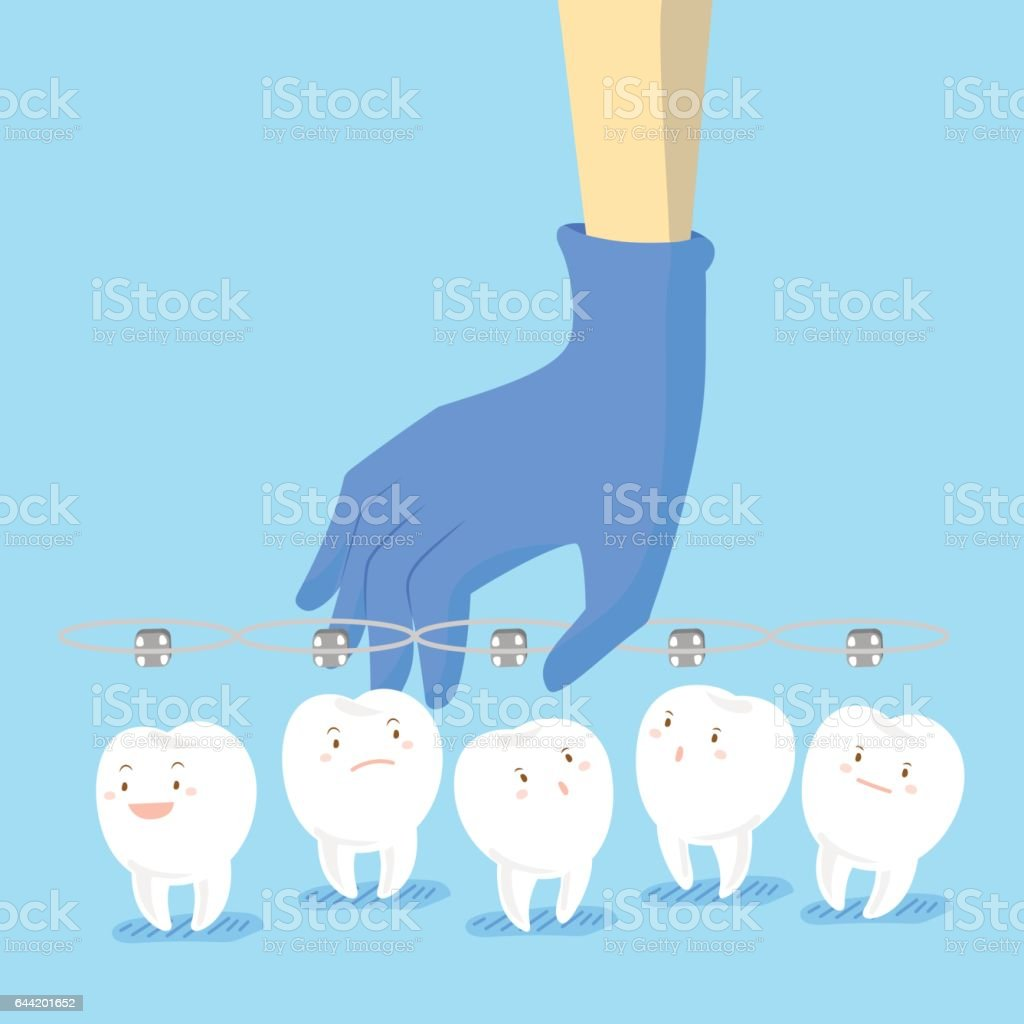doctor hand picking teeth vector art illustration