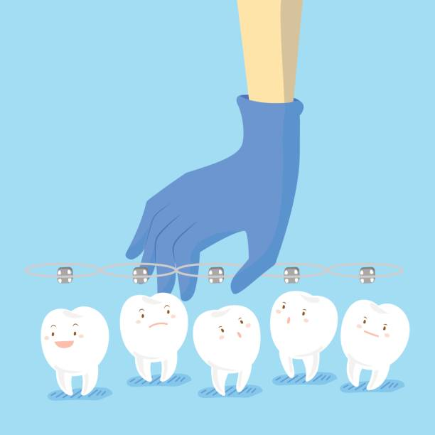 doctor hand picking teeth - orthodontist stock illustrations, clip art, cartoons, & icons