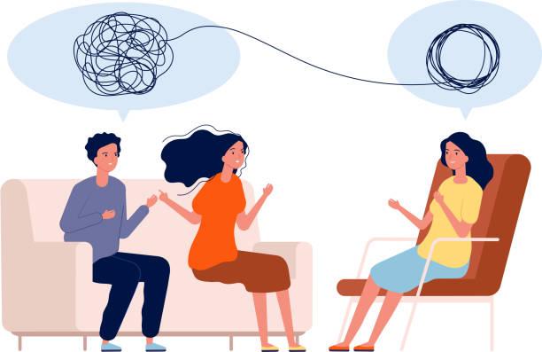 bildbanksillustrationer, clip art samt tecknat material och ikoner med läkare hjälp pattient. mental behandling problem vektor psykologi concept - par mänskliga relationer