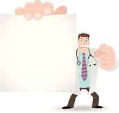 Vector illustration - Doctor holding a blank sign and pointing at you.