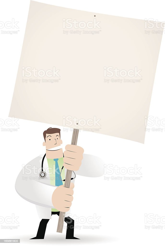 Doctor holding a blank sign for your message royalty-free stock vector art