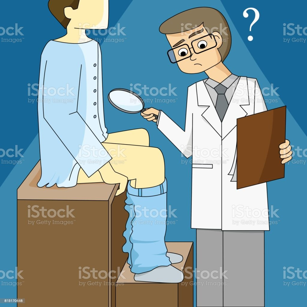 Doctor holding a magnifying glass and shocking with small penis vector art illustration