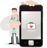 Vector illustration - Doctor holding a smartphone and showing medical box.
